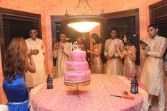 Cake table detail. The court wore headpieces, flashy dresses, kurtas