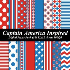 BUY 2 GET 1 FREE - Captain America Inspired Digital Paper Pack (16) 12x12 sheets 300 dpi scrapbooking invitations birthday red blue white. $4.00, via Etsy.