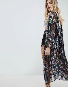 One Above Another | One Above Another Maxi Kimono In Stripe Sequin