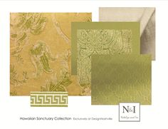 Swatch Set Hawaiian Sanctuary. Tommy Bahama linen pint floral fabric: yellow and lime. Custom bedding and draperies. DesignNashville.com shipping to you. Hawaiian Sanctuary, Natalya and Ira Designs only at DesignNashville
