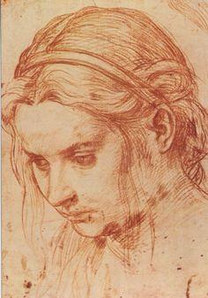 Andrea del Sarto, 1486-1530, Florence, circa 1520 - red chalk study of a girl's head