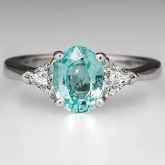Paraiba Color Cuprian Tourmaline Engagement Ring Platinum - EraGem