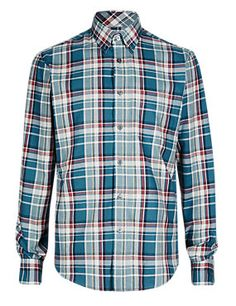Peacock Pure Cotton Thermal Checked Shirt