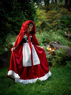 Hooded Cape in Taffeta with Rose Embellishments  Little Red
