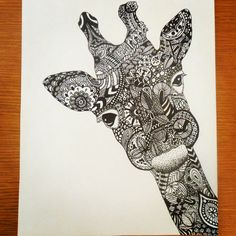 Sharpie + Zentangles + Giraffe = amazing. I would frame this and hang it on my wall. @Laura Fern can you do this?