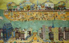 CONEY ISLAND / Ralph Fasanella (1914–1997), New York City, 1950–1970, oil on canvas, 59 x 96 x 1 1/2 in., American Folk Art Museum, gift of Maurice and Margo Cohen, Birmingham, Michigan, 2002.1.1, photo by Gavin Ashworth