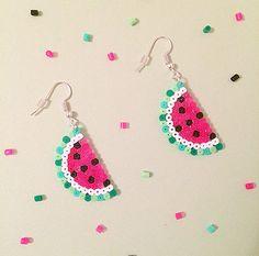 Wassermelone Obst Hama Perlen Ohrringe von GeekGirlWorkshop auf Etsy