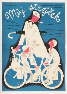 #50sPoster for Jacques Tati's Mon Oncle with magnificent illustration by Jiří Figer, Czechoslovakia, 1959 / #JacquesTati #VintagePosters