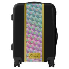 Pastel and Faux Gold Mermaid Scallops Personalized Luggage - blue gifts style giftidea diy cyo
