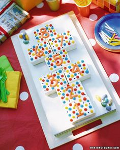 Polka-Dot Hopscotch Birthday Cake!  Doesn't necessarily have to be for a b-day.  Works for a game night or other theme event, too!