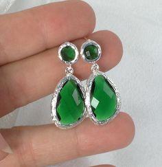 Green / Silver Posts Wedding Earrings Bridesmaid Earrings Bridal Jewelry Green Posts, Wedding Gift Jewelry Emerald - GP1 by BridalTreasures4U on Etsy