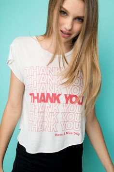 Brandy ♥ Melville | Elin Thank You Top - Graphics