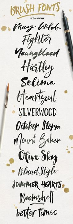 I don't know about you but I just LOVE brush fonts! So here are 14 of my favorite, trending brush fonts. May Wilde | Fighter | ...
