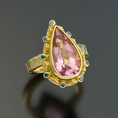 granulation 22kt gold morganite blue diamond ring