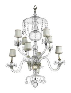 AN ENGLISH CUT-GLASS EIGHT-LIGHT CHANDELIER -  PARTS POSSIBLY 18TH CENTURY