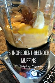Recommended by Jen A. 5 Ingredient Blender Muffins is a an easy grain free, dairy free, gluten free and clean eating recipe making it the perfect choice for breakfast or an afternoon snack! Ninja Blender Recipes, Ninja Recipes, Dairy Free Recipes, Baking Recipes, Vitamix Recipes, Healthy Recipes, Muffin Recipes, Smoothie Recipes, Bread Recipes