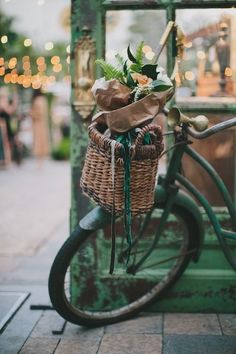 Green vintage bicycle with basket and flowers - via found-vintage-rentals Velo Vintage, Vintage Bicycles, Photo Velo, Photocollage, Shades Of Green, Wicker, Pretty, Photos, Bicycle Basket