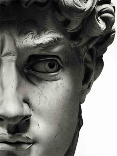 Art: A recreation (in pencil) of the famous David's face.