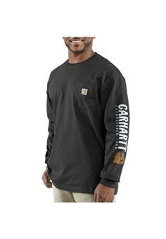 Carhartt Mens Impact Logo Long-Sleeve Pocket Black T-Shirt | Buy Now at camouflage.ca