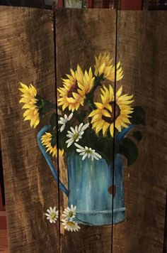 How to paint a sunflower - step by step painting - tutorial - painting ideas Sunflower Jean Jacket hand-painted denim jacket by my friend - ChildhoodStudio .Sunflower Jean Jacket Hand-painted Jean jacket by my friend Wood Pallet Art, Pallet Painting, Tole Painting, Painting On Wood, Wood Art, Painting & Drawing, Diy Wood, Rustic Painting, Barn Wood Crafts