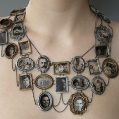 """I Am Who They Were"" Necklace by Artist Ashley Gilreath 2011. Ms. Gilreath created this necklace by casting dollhouse frames in silver and bronze and printing family portraits directly onto microscope glass."