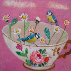 Andrea Letterie, Blue tits and daisies, Gemengde techniek op paneel, 20x20 cm, €.250,-
