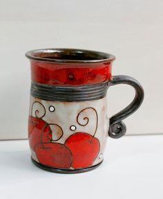 Ceramic mug, Mug, Cup, Ceramic cup, Ceramic Pottery coffee set, Handmade, Ceramics and pottery, Tea set, Serving, Kitchen, Home Decor-apples