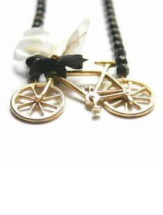 Statement Necklace with Vintage Bouquet and Bicycle in Black and White - Bike and Bouquet
