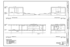 Farnsworth House, 1951 ... Drawings of Elevations and sections