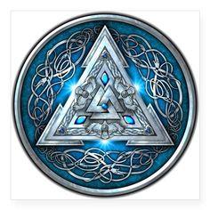 "Norse Valknut - Blue Square Sticker 3"" x 3"" by naumaddicarts"