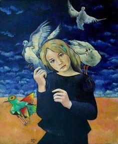 blue - girl with birds - Myrtille Henrion Picco