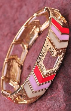 Foi Clothing Boutique — Pink and Gold Bracelet Chevron Bracelet, Cute Bracelets, Clothespins, Gold Bangles, Preppy Style, Types Of Fashion Styles, Pink And Gold, Frost, Costume Jewelry