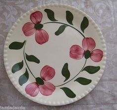 Blue Ridge Pottery Salad Plate ~ Rose Red Pattern