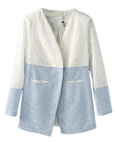 52cf901561d Vintage Style Washable Blue Lapel Collar Long Sleeve Rough Edge Denim Blouse.  OL Style Contrast Color V Neckline Shoulder Pad Long Sleeve One Button Lace  ...