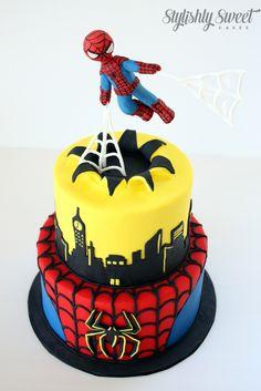 Spider man cake  www.stylishlysweet.com.au Spiderman Birthday Cake, Make Birthday Cake, Avengers Birthday, Superhero Cake, Fancy Cakes, Cute Cakes, Bolu Cake, Gravity Defying Cake, Kids Party Decorations