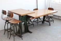 Vintage Industrial Dining Table/ Kitchen Island Cast Iron Legs Butcher Block 7'