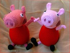 Instruction to make a funny Peppa Pig doll, loved by children.Final dimensions are around 13 cm when sitting and 20 cm from head to feet. The doll can't sand on her feet. Dimension can vary upon your gauge and the materials you use (hook, yarn, ..) All my patterns are written with US crochet terms Enjoy!