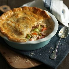 This is a great way to use up left over Christmas turkey and also any ham you have. There's enough pastry to line the pie dish as well as top it if you prefer too.
