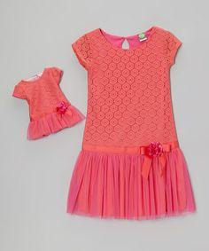 Coral Drop-Waist Dress & Doll Dress - Girls