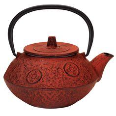 Osaka Cast Iron Tea Kettle in Red