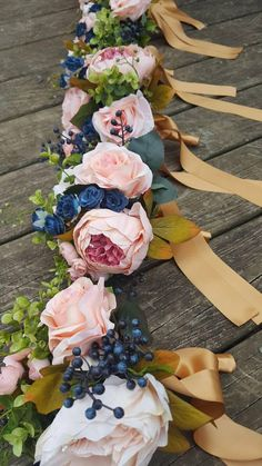 Blush Pink and Navy Bridal Bouquet Set Peonie and Rose