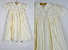 Vintage Ivory Cotton LACE Embroidered Gorgeous Dress Gown Baby Girls New Born Wedding Christening Baptism Gown Dress size New Born by ItaLaVintage on Etsy