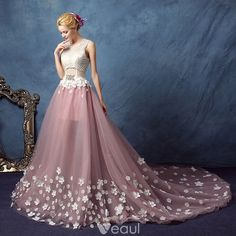 Chic / Beautiful Blushing Pink Prom Dresses 2017 A-Line / Princess Scoop Neck Sleeveless Appliques Flower Pearl Rhinestone Cathedral Train Backless Pierced Formal Dresses