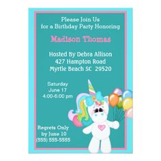 Shop Colorful Unicorn Birthday Invitation created by cooltees. Unicorn Birthday Invitations, White Envelopes, Custom Invitations, The Hamptons, Special Occasion, Backdrops, Colorful, Party, Receptions