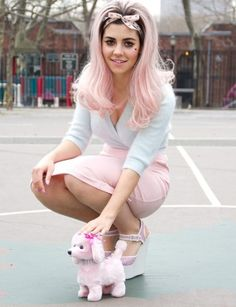 Marina and the Diamonds- Such a pretty picture with the cute lil' dog! I love her shoes!!!