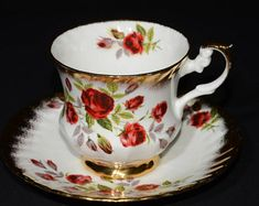 ROSINA, Red roses, Tea Cup Saucer, Fine Bone, Gold Footed, Gold chintz, Scalloped edge, England, China, Vintage, Romantic