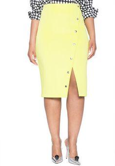 Plus Size Button Front A-Line Skirt