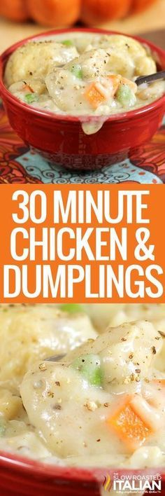 Chicken and Dumpling Chicken and Dumplings is a dish that goes from prep to plate in 30 minutes! A simple 1 pot recipe that is packed with chicken veggies and delicious dumplings with no canned 'cream of whatever' soup needed. Crock Pot Recipes, Cooker Recipes, Soup Recipes, Chicken Recipes, Dinner Recipes, Easy Recipes, Quiche Recipes, Family Recipes, Amazing Recipes