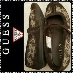 Guess Flats Loafers Guess Signature Suede Leather Loafers with Strap, Upper Leather/Textile, Worn - Still Lots of Life Left, Good Condition Guess Shoes Flats & Loafers