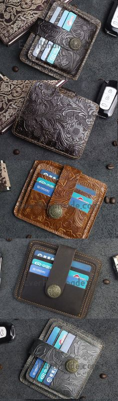 Handmade Short Leather Wallet Cards Wallet Flowral Leather